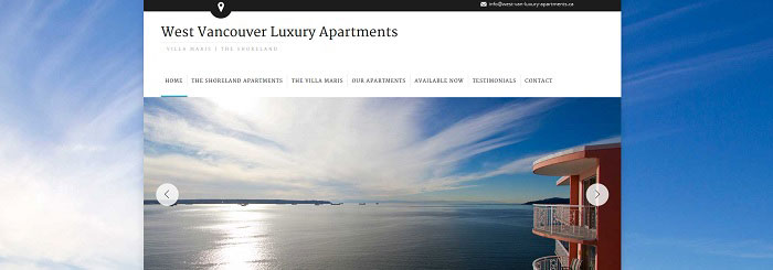 West Vancouver Luxury Apartments website by Lara Spence Web Design Vancouver BC